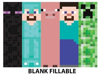 Minecraft Bookmarks: Steve, Enderman, Diamond Armor Steve, Creeper, and Pig
