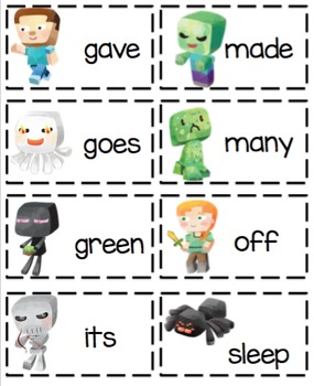 Minecraft Theme Dolch 2nd Grade Word Cards