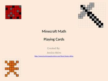 Minecraft Theme Math Playing Cards