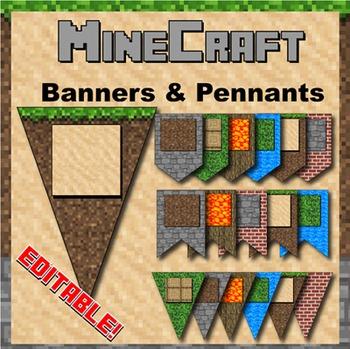 Minecraft Themed Banners - Editable!
