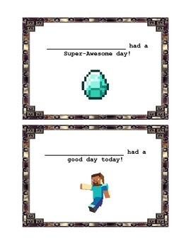 Minecraft Themed Behavior Feedback