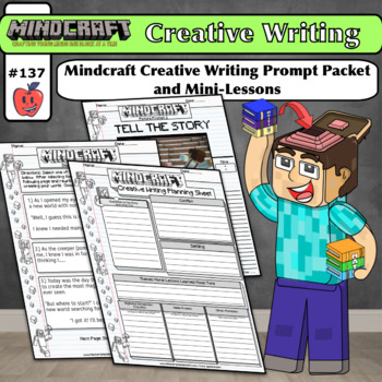 Minecraft Themed Bulletin Board MINDCRAFT with Creative Writing Prompt Mini Unit