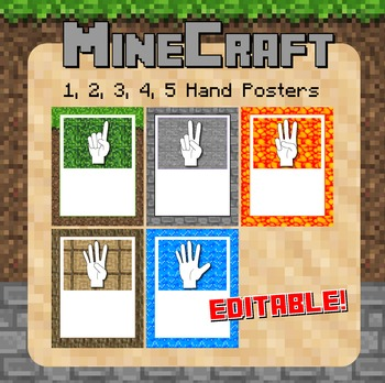Minecraft Themed Finger Posters - Editable!