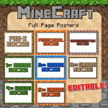 "Minecraft Themed ""Grade Rocks!"" Posters - Editable!"