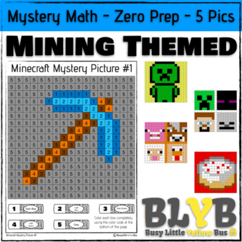 Minecraft Themed Mystery Math Pictures (Number Recognition) NO PREP Printables