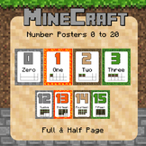 Minecraft Themed Number Posters 0 - 20  Full/ Half page