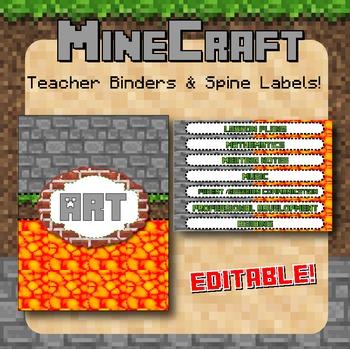 Minecraft Themed Teacher Binders / Spine Labels - Editable!