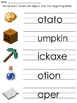 Minecraft Themed Worksheets with add the beginning letter