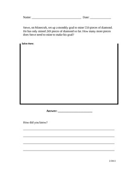 Minecraft Word Problem Sheet (Subtracting Hundreds)