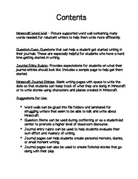 Minecraft Writing Journal
