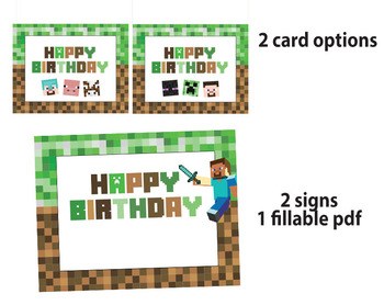 Minecraft birthday cards and signs
