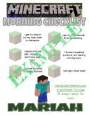 Minecraft checklist (morning routine or other)