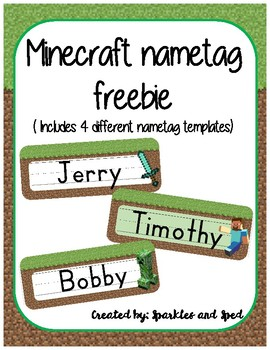 Minecraft inspired name tag freebie