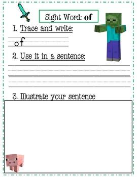 Minecraft sight word practice (first 100)