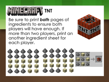 Minecraft themed Dolch Sight Word Recipe Crafting Game