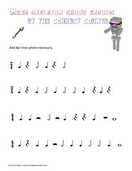 Minecraft themed Theory of music Freebie
