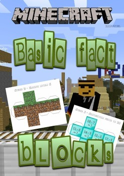 Minecraft themed basic fact cube nets AGES 5 to 10  (NUMERACY STAGES 2-6)