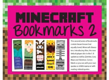 Minecraft Bookmarks 2 - Alex (new Girl), Zombie, Cow, Blaze, Skeleton