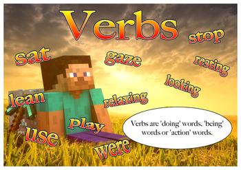 Minecraft themed nouns, verbs and adjectives posters