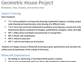 MinecraftEDU Geometric House Project: Area, Perimeter, Surface Area and Volume
