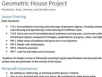 MinecraftEDU Geometric House Project: Area, Perimeter, Surface Area and Volume