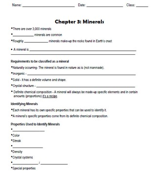 Minerals - Cloze / Scaffolded Notes