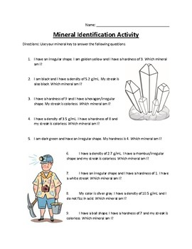 Mineral Identification Activity