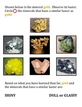 Mineral Identification LAB: LUSTER (Full of COLORFUL Applications)