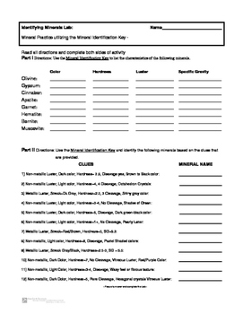 Mineral Identification Practice - Key Activity Practice Lab