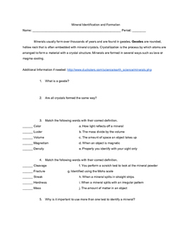 Mineral Identification Worksheet