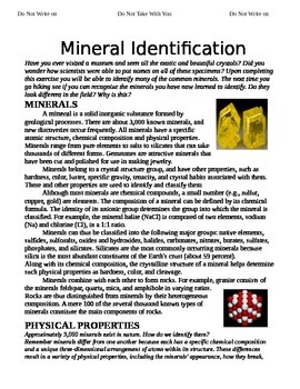 Mineral Identification and Properties Packet