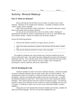 Mineral Makeup with Answer Key