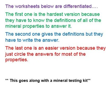Mineral Testing Recording Sheets