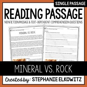 Mineral vs. Rock Reading Passage