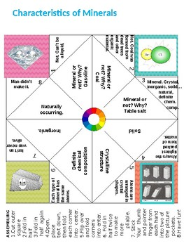 Minerals: Characteristics and Properties Cootie Catchers (editable)