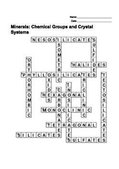 Minerals: Chemical Groups and Crystal Systems - Crossword Puzzle
