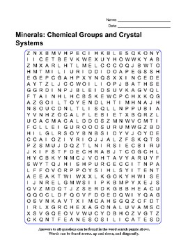 Minerals: Chemical Groups and Crystal Systems - Review Quiz,  Word Search Puzzle