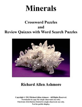 Minerals - Crossword Puzzles and Review Quizzes with Word Search Puzzles Bundle