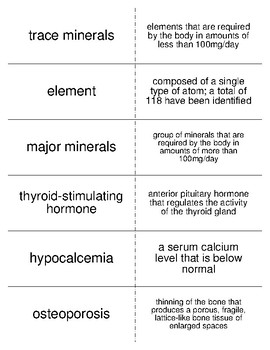 Minerals Flash Cards for Nutrition and Health Students
