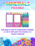 Minerals Foldable or Science Notebook Insert