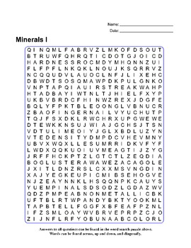 Minerals I - Review Quiz with Word Search Puzzle