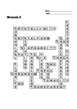Minerals II - Crossword Puzzle