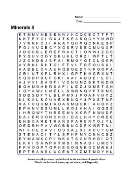 Minerals II - Review Quiz and Word Search Puzzle