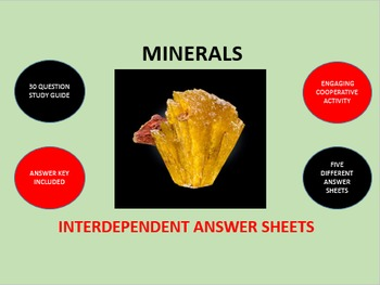 Minerals: Interdependent Answer Sheets Activity