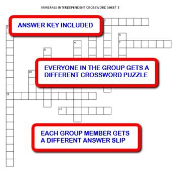 Minerals: Interdependent Crossword Puzzles Activity