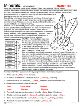 Minerals - Introduction and Mohs Hardness Scale Activity
