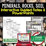 Minerals, Rocks, Soil Guided Notes & PowerPoints NGSS Google, Interactive