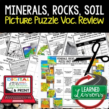 Minerals, Rocks, Soil  Picture Puzzle Study Guide Test Prep