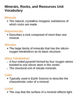 Minerals Rocks and Resources Unit Vocabulary Lesson Plan