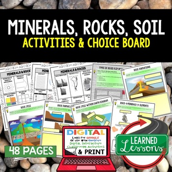 Minerals, Rocks, and Soil Choice Board Activity Pgs (Paper